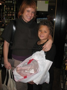 Sarah and her son at the 2008 Turkey Pick up at Local Harvest Grocery