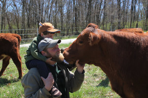 Alex and Rowan with a Grassfed cow